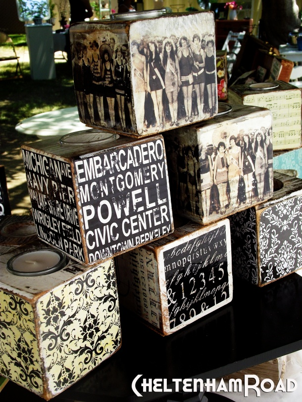 mod-podge candle blocks. black and white candle block display