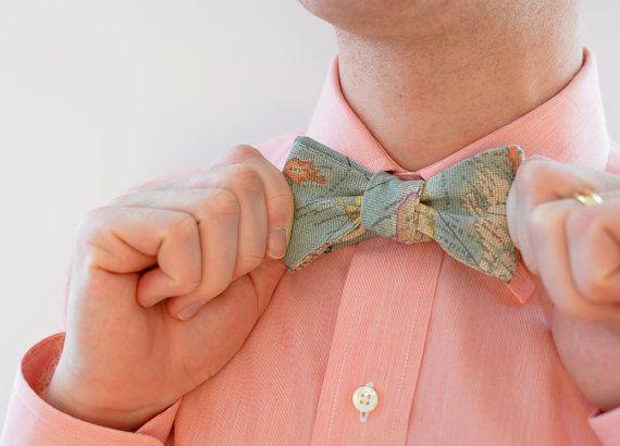 Men's Bow Tie in World Map (dark) - free style self tie bowtie groomsmen wedding ties travel world maps blue on Etsy, $38.00
