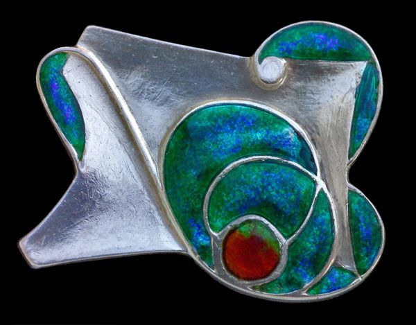 Silver and enamel Arts & Crafts brooch by Archibald Knox for Liberty, c.1900
