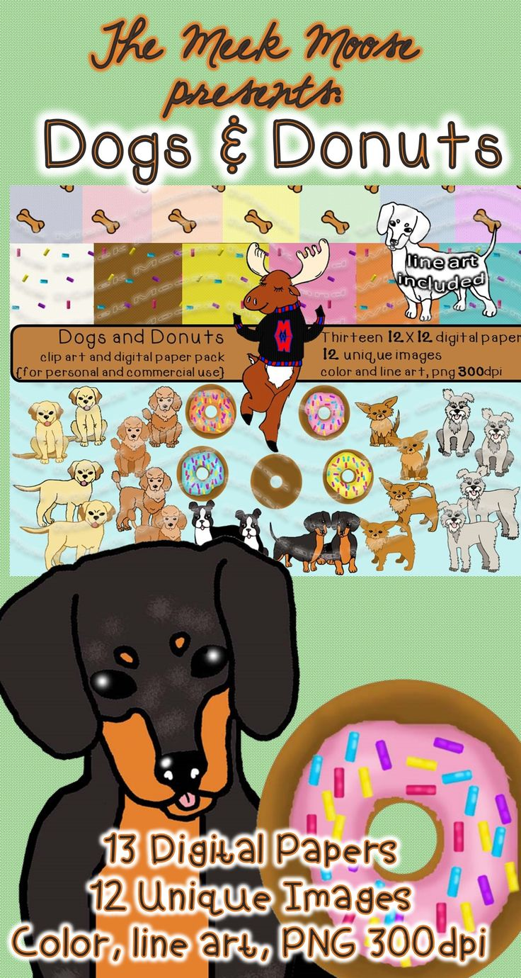 #clipart #dogs #donuts This clip art pack is great for making dog or donut themed activities, gift tags, stickers, and the line art is perfect for coloring pages!
