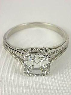 Asscher Cut Diamond Antique Engagement Ring   best stuff