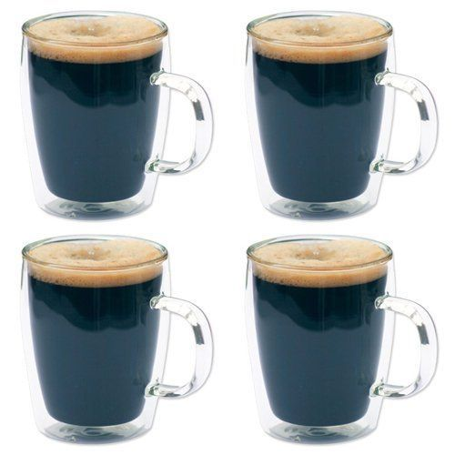 4 x Double Wall Glass Thermo Bistro Mugs  Coffee  Tea  10oz  300ml  SALE PRICE *** You can get additional details at the image link.