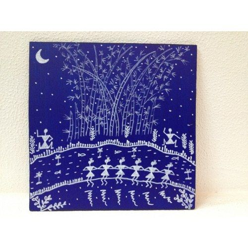 Blue Wooden Hand Painted Wall Hanging with Warli Art