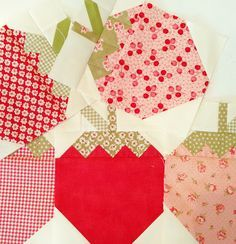 Free Strawberry Quilt Patterns | Yum! Strawberry Social by The Pattern Basket