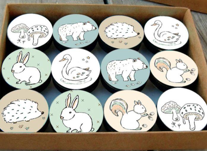 Möbelknäufe - Kinder Schubladenknöpfe - Set von 12 - ein Designerstück von galaartstudio bei DaWanda