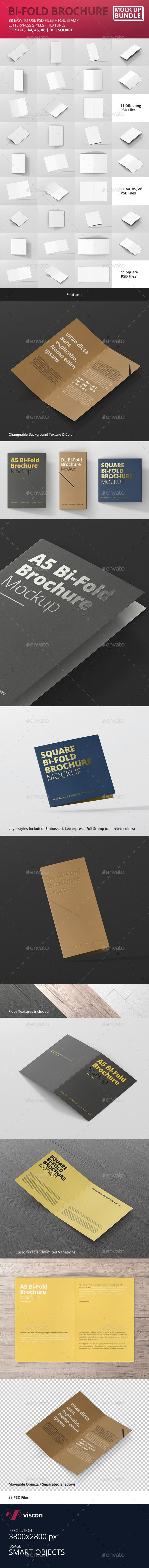 Bi-Fold Brochure Mock-Up Bundle. Download here: graphicriver.net/...