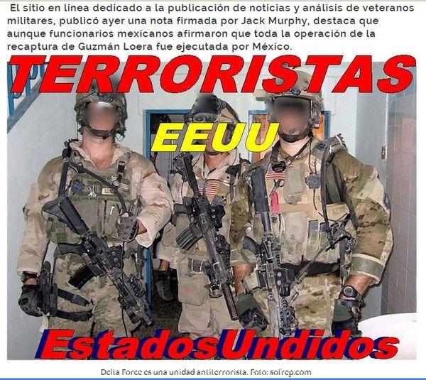 """@FELIPECLDERON #AYOTZINAPA @EPN Fuerza Delta Force, de #EEUU, habrían participado en la búsqueda de """"#ELChapo"""""""