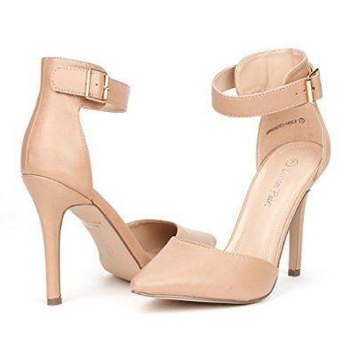 Women's Pointed Toe Ankle Strap D'Orsay Cut Out High Stiletto Heel Dress Pump Shoes