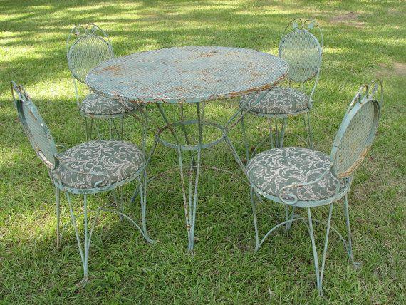 Vintage Wrought Iron & Mesh Patio Set Table w 4 by marketsquareus