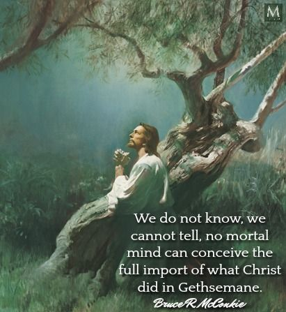 """""""We do not know, we cannot tell, no mortal mind can conceive the full import of what Christ did in Gethsemane."""" — Bruce R. McConkie 