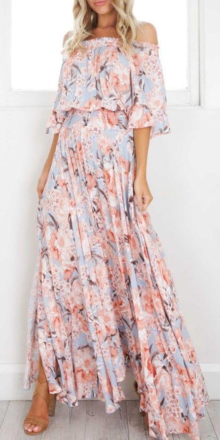 Solid color chiffon maxi dress