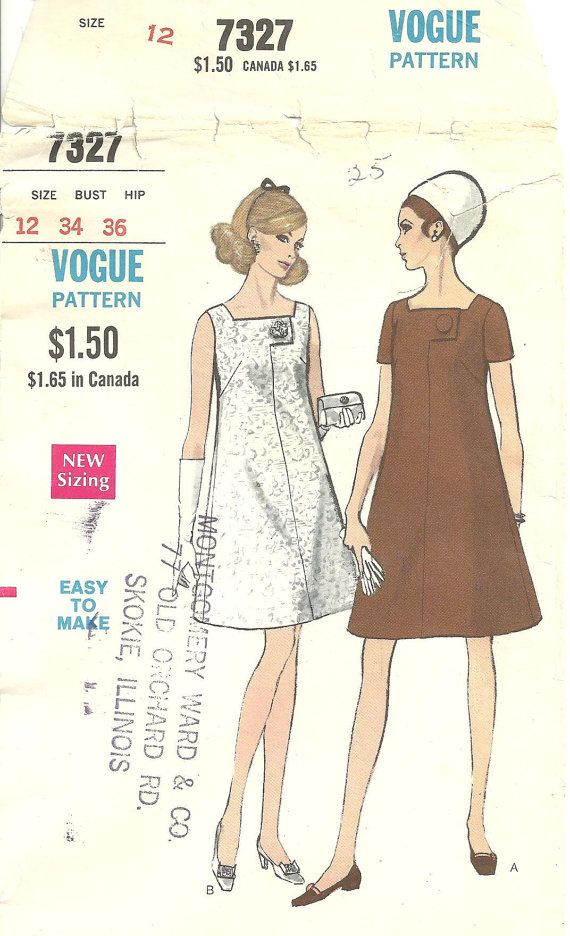 Vogue 7327 Dress sz 12 Vintage 1960s Pattern by designersreserve, $22.50