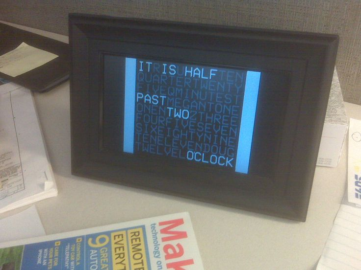 digital word clock from a cheap photo frame