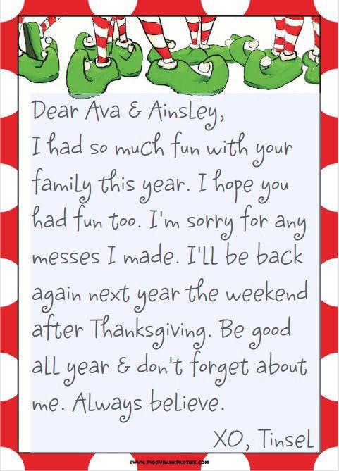 elf on the shelf good bye letter | Elf On The Shelf ...