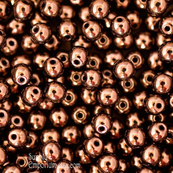 4mm Czech Jet Bronze Druk Beads, 3873, Jet Bronze Druk Round Beads, 100 Beads