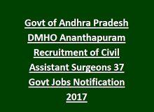 Govt of Andhra Pradesh DMHO Ananthapuram Recruitment of Civil Assistant Surgeons 37 Govt Jobs Notification 2017   Govt Job Online India   Pinterest