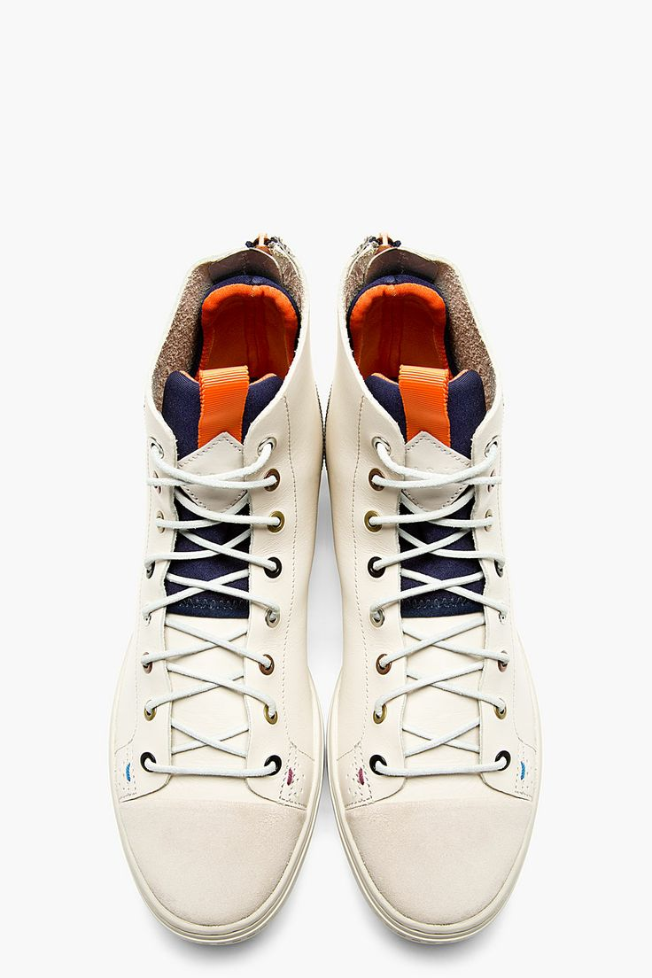 PAUL SMITH JEANS Light Grey Leather High-Top Sneakers