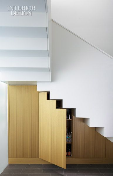 :: STAIRS :: making use of storage below a staircase, featured on Interior Design, firm: Billinkoff Architecture, site: West Village, NYC, #stairs