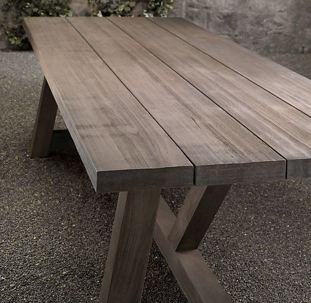 Rh French Beam Weathered Teak Rectangular Dining Table