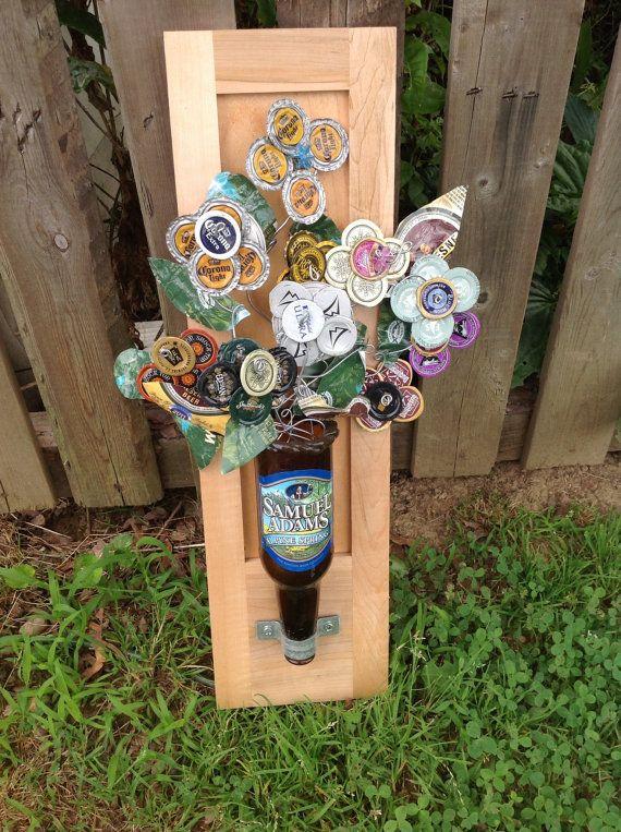 Beer Bottle Caps Beer Bottles And Flower Arrangements On