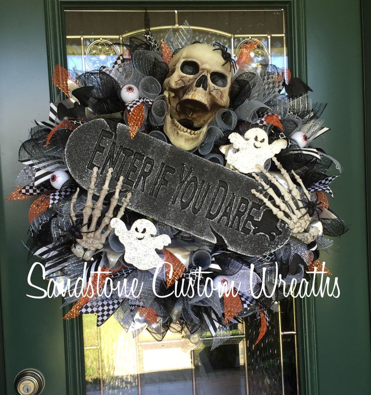 Skeleton Wreath, Halloween Skeleton Wreath, Halloween Skeleton, Enter if you Dare, Halloween Wreath, Scary Halloween wreath, Scary Halloween by SandstoneCustmWreath on Etsy https://www.etsy.com/listing/387456588/skeleton-wreath-halloween-skeleton