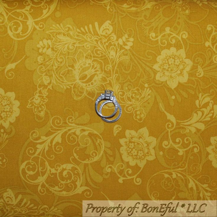 BonEful Fabric FQ Cotton Quilt Yellow Gold Leaf Flower Small Calico Little Toile #QuiltingTreasures