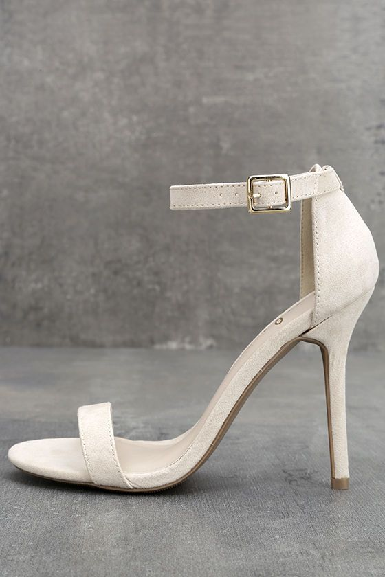 Avoid that twinge of jealousy you get when your BFF shows up in the hottest shoes around, and get yourself a pair of the Lulus Elsi Bone Single Strap Heels today! These ivory vegan suede heels are a must-have for every occasion with a single toe band and an adjustable ankle strap (with gold buckle) anchored by a slender heel cup.