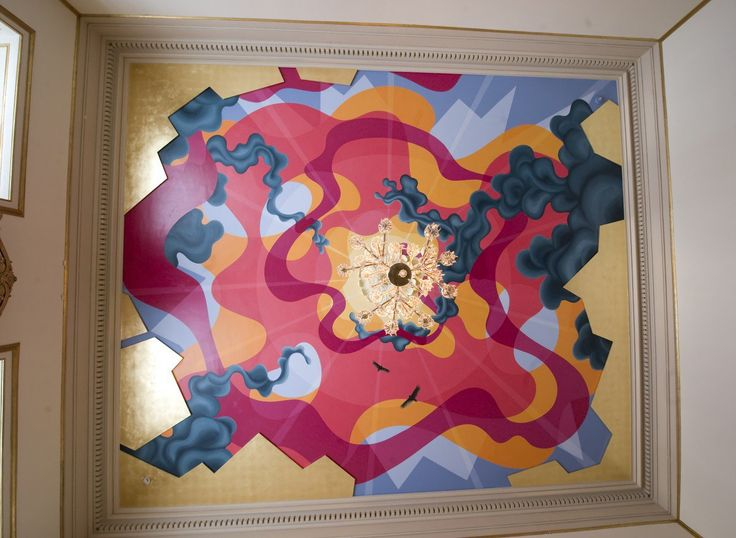 The colourful ceiling in Crown Princess Mary's meeting room is painted by artist Eske Kath, who is known for drawing inspiration from the forces of nature and the universe.
