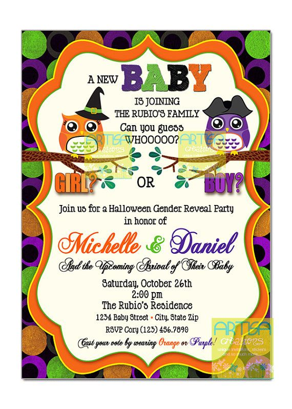 Halloween Gender Reveal Owls Invitation  by artisacreations, $12.00