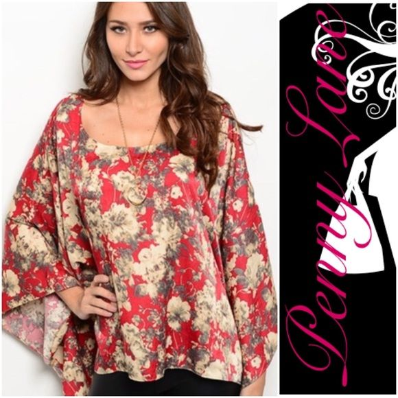 "Beautiful Wine Floral kimono sleeved top Gorgeous kimono top in beautiful shades of red and Browns. Batwing sleeves. Flattering cut for any shape! Description: L: 28"" B: 56"" W: 58  ❌SHIPPED WITHIN THE USA Penny Lane's Boho Boutique Tops Blouses"
