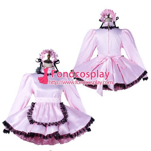 Sissy maid satin dress lockable Uniform cosplay costume Tailor-made[G2197]