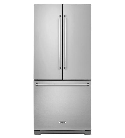 Image pour Réfrigérateur à portes françaises de 20pi³ avec distributeur d'eau et glaçons - Kitchen Aid KRFF300ESS                     à partir de EconoMax