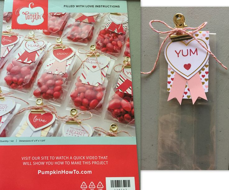 "Paper Pumpkin January 2015 ""Filled with Love"", 24 adorable treat bags, with plenty of crafty embellishment to decorate them! Interested in how to sign up? Click on the photo for my info."