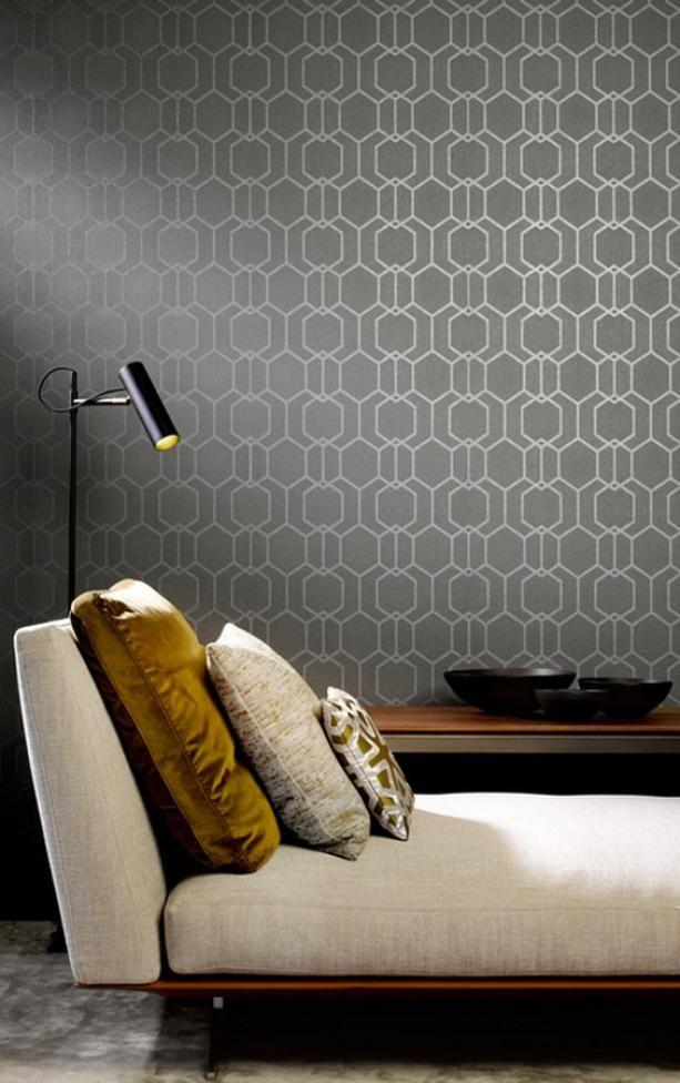 Elegancka tapeta grafitowa z geometrycznym wzorem Pure Impulse