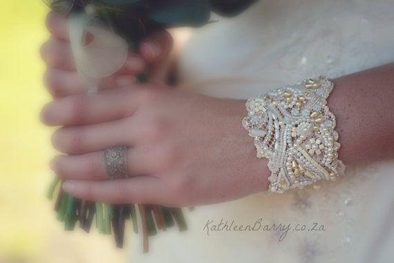 R1120 Vintage Lace Cuff Bracelet pearl by KathleenBarryJewelry, $125.00