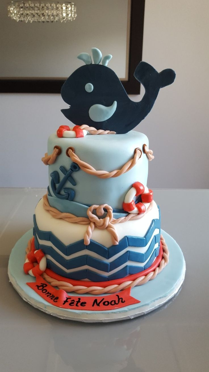 Navy and Marine theme first birthday cake
