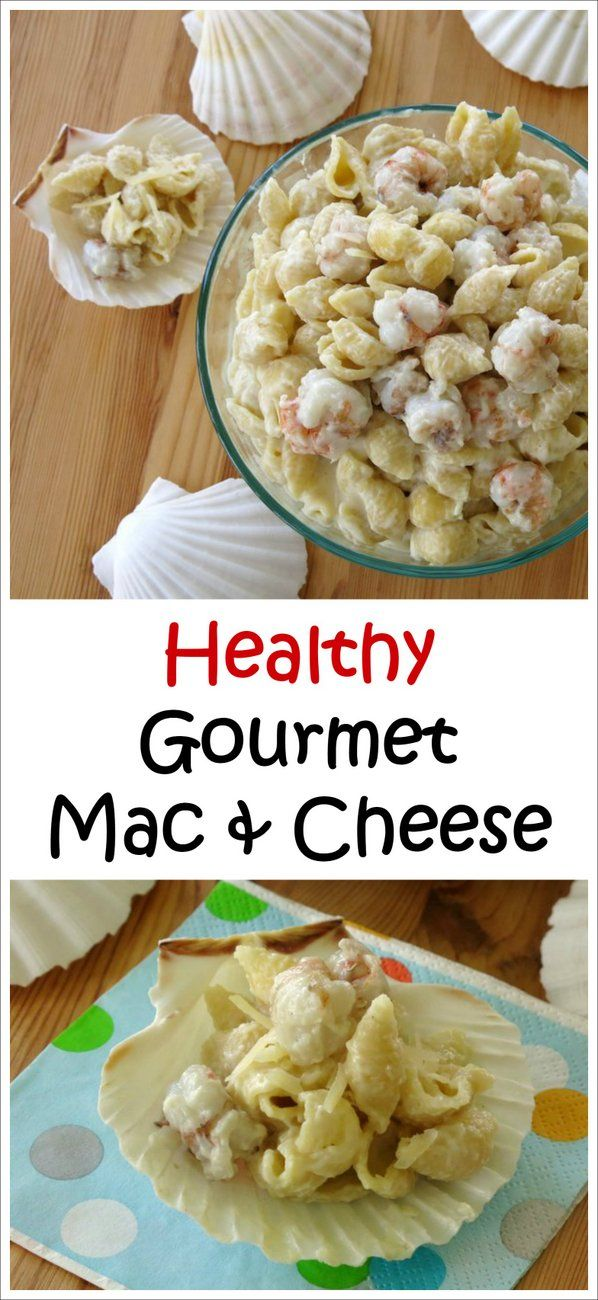 Gourmet Mac and Cheese with Rock Shrimp Recipe - ingredient swaps make it healthy; rock shrimp and 3 creamy cheeses make it delicious!