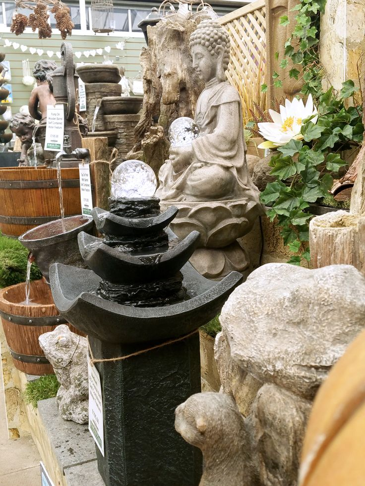A fantastic range of water features here at Adrian Hall Garden Centre.