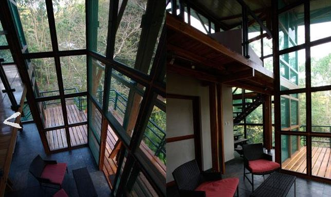 There are 6 treehouses that include: - 17-foot open-faced screened walls - soaring ceilings - slate stone lounge space with two lounge chairs and coffee table - bedroom mezzanine with two twin beds (can be converted to king) - private dressing room with sink w/ hot water - private toilet room - garden-view solar hot water shower with great pressure and wide shower head - 625 sq. feet of living space