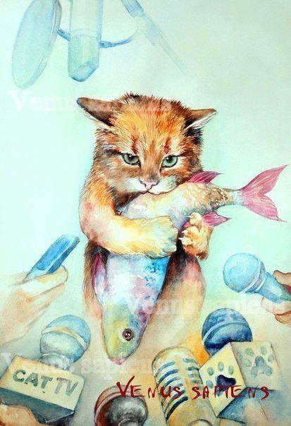 кот, котик, няша, рыжий, рыба, акварель, арт, картина, мило, котэ