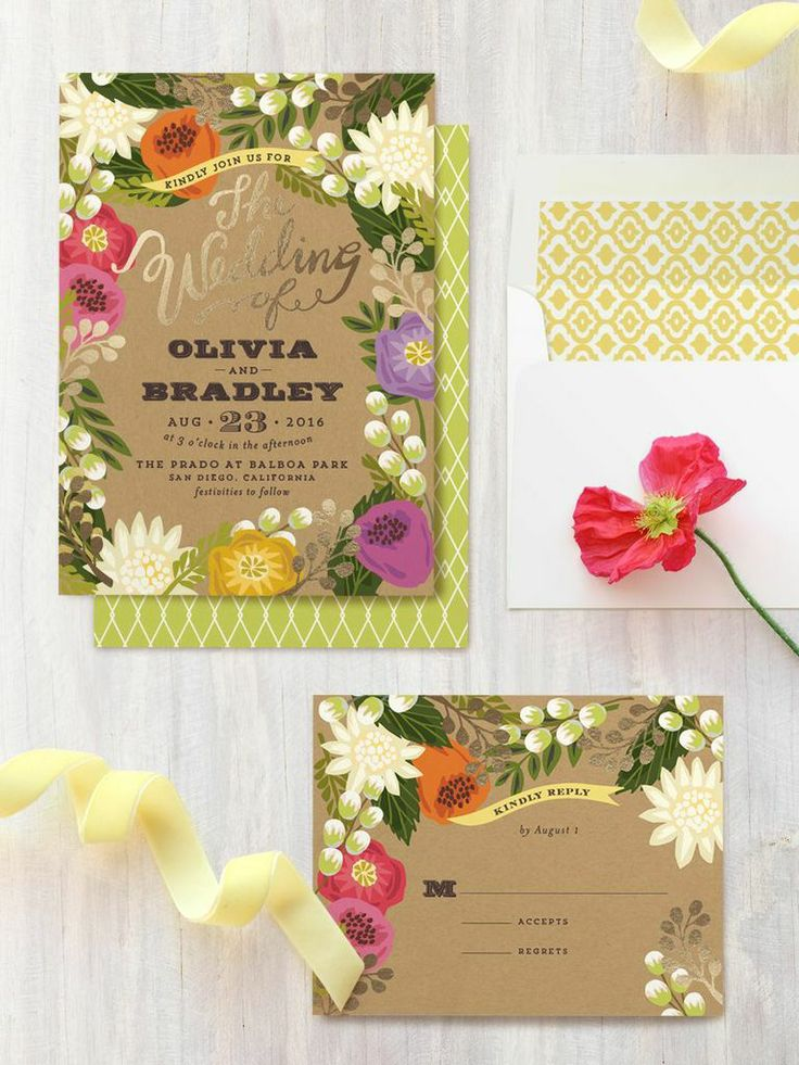 Bright Beautiful Floral Wedding Invitations perfect for