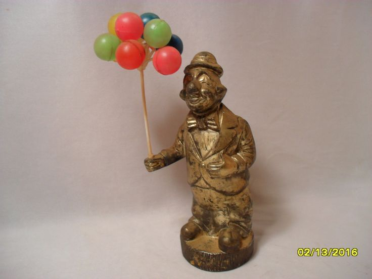 Vintage Tarnished Cool Silver Coated Clown with Plastic Balloons Coin Bank by TheBunnyHutch on Etsy