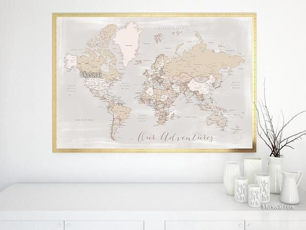 28 best world maps rustic world maps lucille images on our adventures printable world map with cities in rustic style large 60x40 instant gumiabroncs Image collections