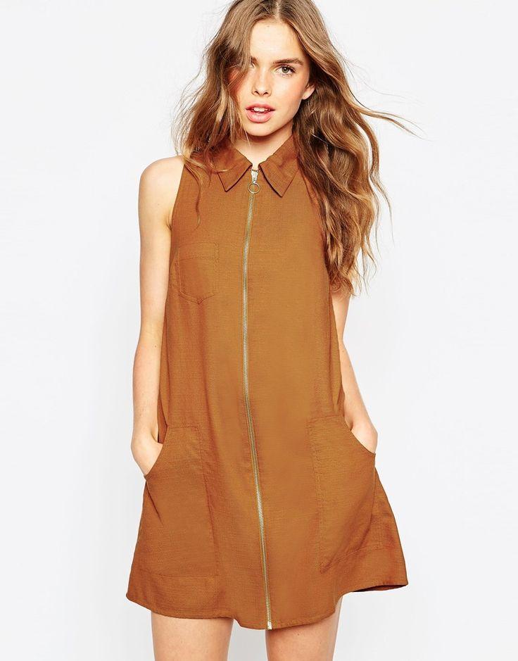 ASOS Sleeveless Zip Through Shirt Dress