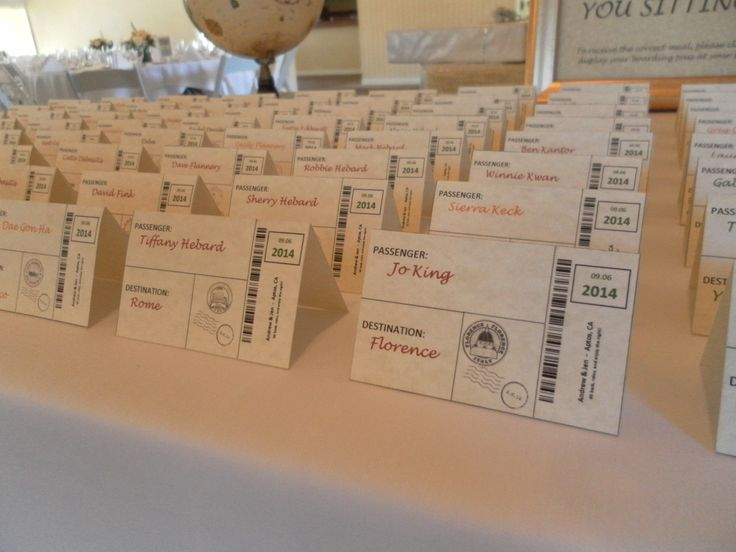 Travel Themed Wedding Creative Place Cards Venue Seascape Golf Club Other Decor Ideas