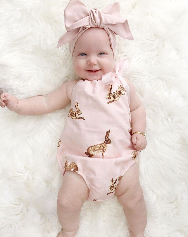 2pcs!!Cute Newborn Toddler Baby Girl Clothes Pink Rabbit Romper Jumpsuit Outfits+Headband Baby Girls Summer Clothes