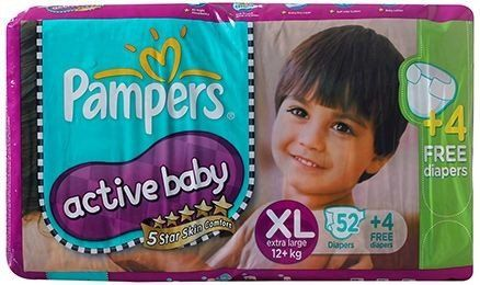 Pampers -Active Baby Diapers Xl 52 + 4 Pcs Free (12 Kg+) Buy Online at Best Price in India: BigChemist.com