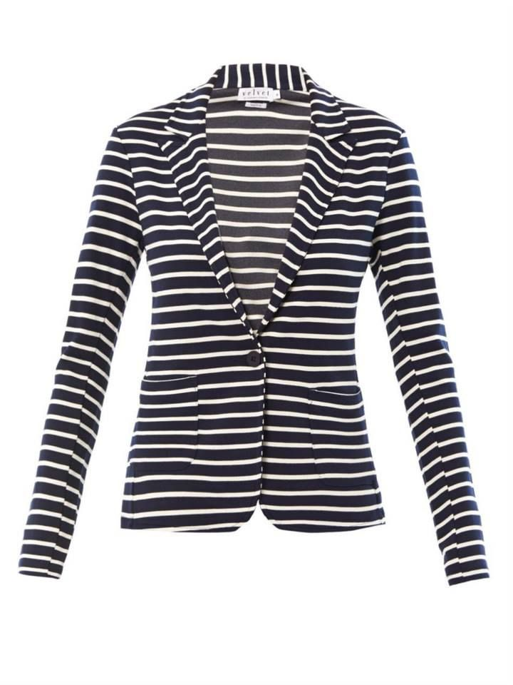 Velvet by Graham & Spencer Electra Ponti Stripe Blazer. When we hear 'ponti' all we hear is COMFORT. This feels like your favorite sweatshirt yet looks extremely pulled together. A must have for the jet-setter.