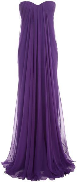 with gold empire waist band?  Alexander Mcqueen Purple Draped Bustier Gown