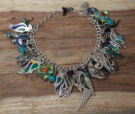Vintage Mexico Parrots 925 STERLING SILVER Charm BRACELET